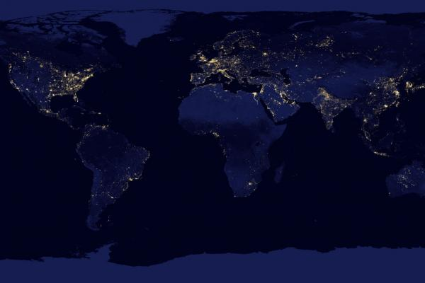 A view of the Earth's lights at night, acquired by the Suomi National Polar-orbiting Partnership (Suomi NPP) satellite.