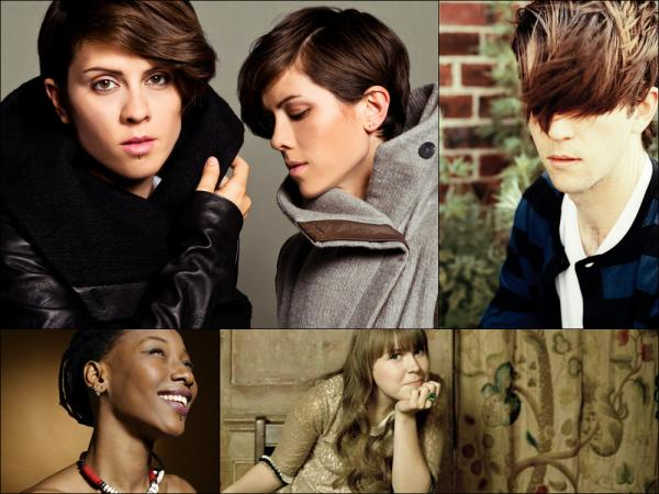 Clockwise from upper left: Tegan and Sara, Owen Pallett of Final Fantasy, Alessi's Ark, Fatoumata Diawara