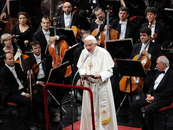 Pope Benedict XVI addresses the audience at Milan's La Scala opera house where he heard a performance of Beethoven's Symphony No. 9 conducted by Daniel Barenboim.