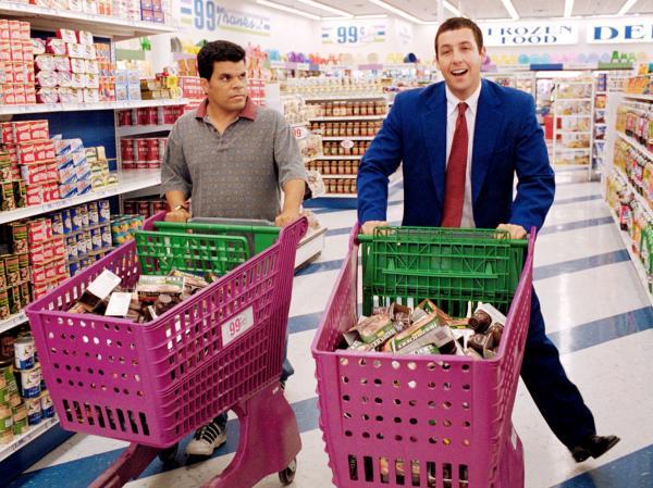 Luis Guzman and Adam Sandler in Paul Thomas Anderson's <em>Punch Drunk Love</em>.