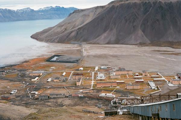 Piramida, shot from above. The ghost town, once an active Russian mining settlement, is on the island of Spitsbergen, in the archipelago of Svalbard, which is controlled by Norway.