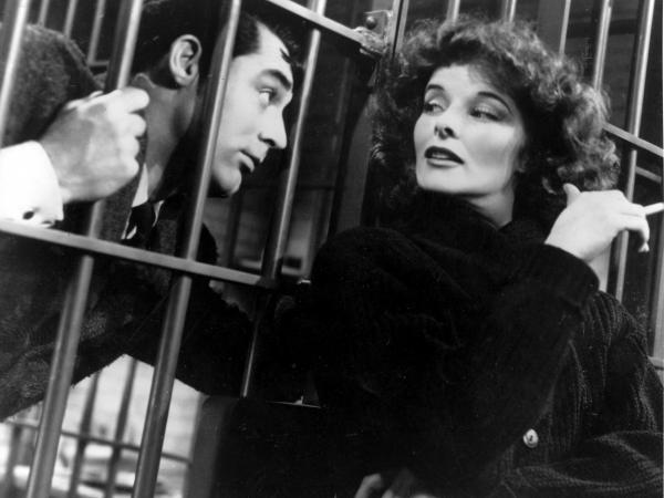 Katharine Hepburn and Cary Grant in <em>Bringing Up Baby</em>.