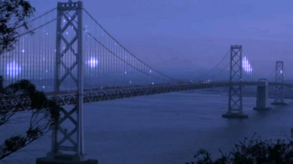 An image taken from a video of The Bay Lights. The lights will be turned on Tuesday, at 9 p.m. PT.