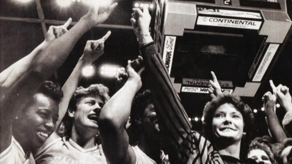 Pat Summitt celebrates the Lady Vols' first national championship, in 1987. Summitt says it took seven Final Four losses to learn how to win one.