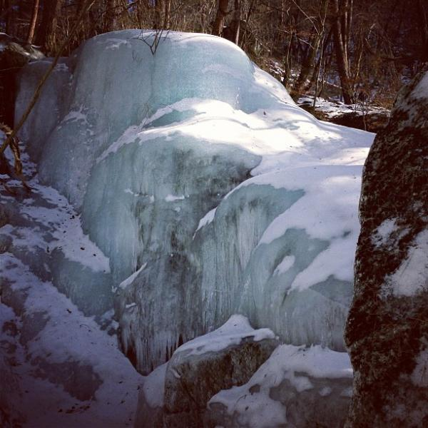 """A frozen waterfall at the base of North Korea's Mt. Myohyang."""