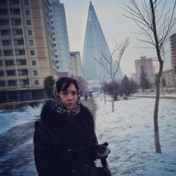 """""""The yet to be completed 105-story pyramid shaped Ryugyong Hotel can be seen from about anywhere you stand in Pyongyang. The North Koreans started building it around 1987."""""""