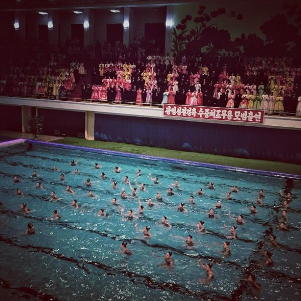 """A surreal mass synchronized swimming performance in #Pyongyang, North Korea tonight."""