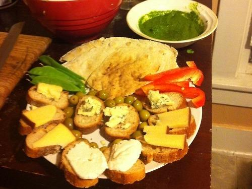 "From <a href=""http://dinnertimeconfessional.tumblr.com/post/44544479837/this-is-dinner-for-my-boyfriend-and-me-he-usually#posts"">KF</a> in Champaign, Ill.: Baba ghanoush, a spicy cilantro chutney with bread, and veggies for dipping"