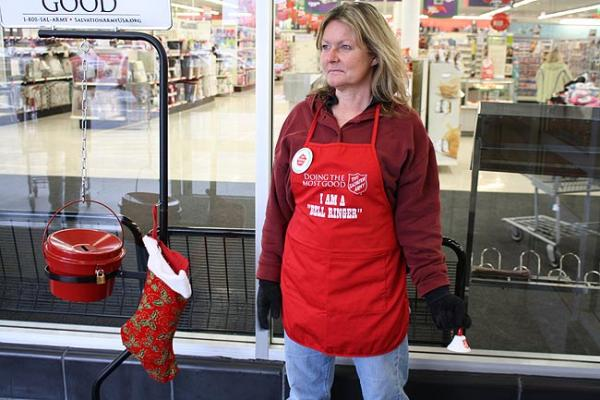Kari Turner is a Salvation Army bell ringer in Coeur d'Alene, Idaho. Photo by Jessica Robinson