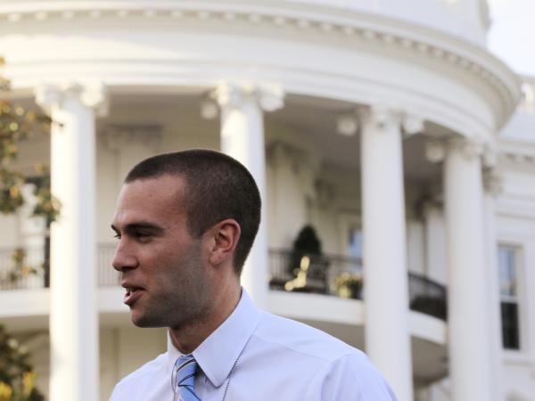 Jon Favreau, President Obama's former chief speechwriter, is pictured on the South Lawn of the White House in 2010.