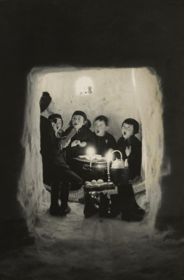 <em>Children Singing in a Snow Cave, Niigata Prefecture,</em> 1956