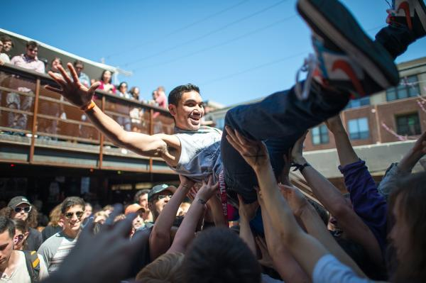 Somewhere out there, this SXSW attendee is still crowd-surfing. He was last sighted about 30 miles south of Austin at Black's BBQ in Lockhart, Texas.