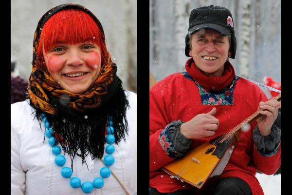 Smiling Russians at the Aksyonovo village celebrations of Maslenitsa in 2012.