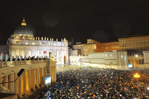 A general view shows St. Peter's Square as white smoke rises from the chimney on the roof of the Sistine Chapel, signifying that cardinals elected a new pope at the Vatican.