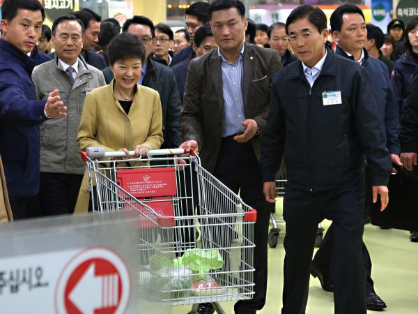 "South Korean President Park Geun-hye pushes a cart in a store in the capital, Seoul. In remarks Wednesday, North Korea referred to the ""venomous swish"" of her skirt."