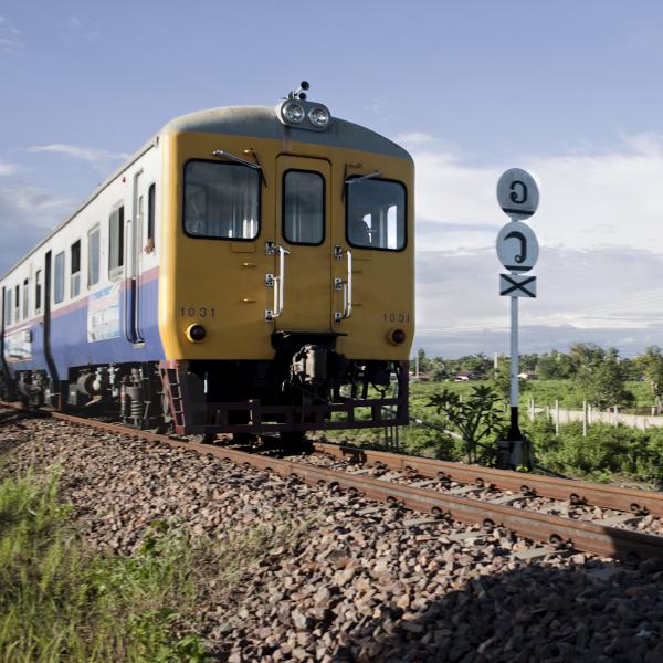 The Nong Khai-Thanaleng train makes four trips daily between Laos and Thailand. Consisting of two coaches, the train usually carries a handful of tourists.