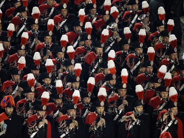 A marching band perfroms before the introduction of Pope Francis at St. Peter's Basilica on Wednesday in Vatican City.