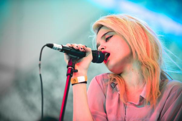 Arrayed in pink and blue hues, Sky Ferreira was a vision of neon electro-pop at The Fader Fort.