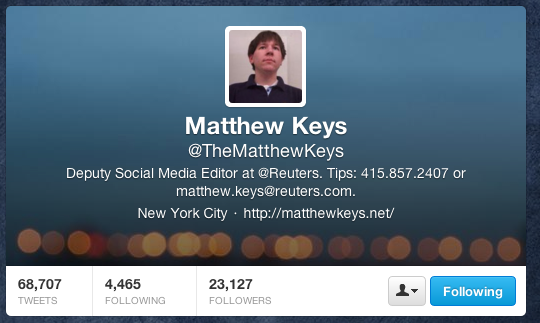 The Twitter account of Matthew Keys.
