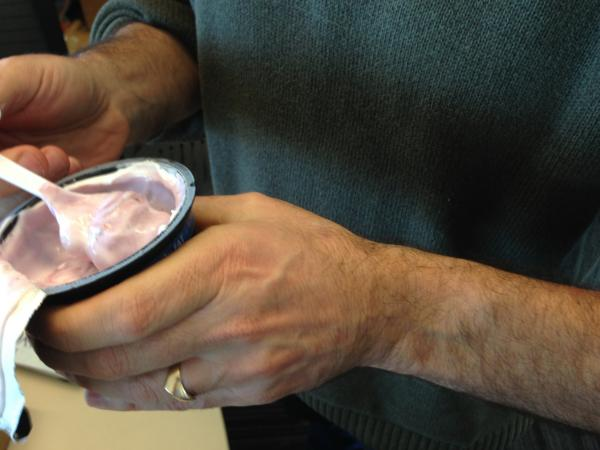 The amazing thing: Peter's arm was completely hairless before trying this yogurt.