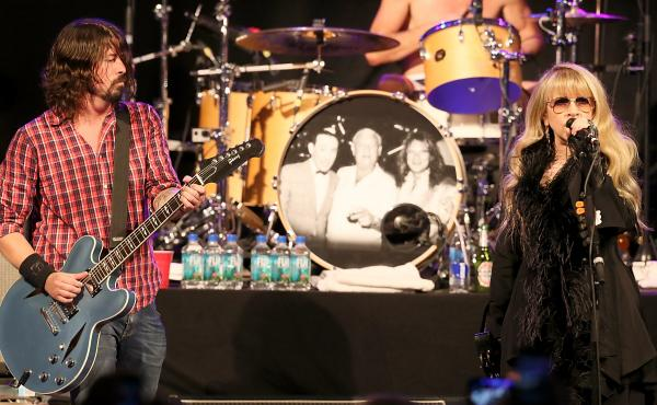Dave Grohl (left) and Stevie Nicks both spoke in front of (separate) large audiences at SXSW during the day on Thursday. Later that night, they performed together in a concert by Grohl's Sound City Players.
