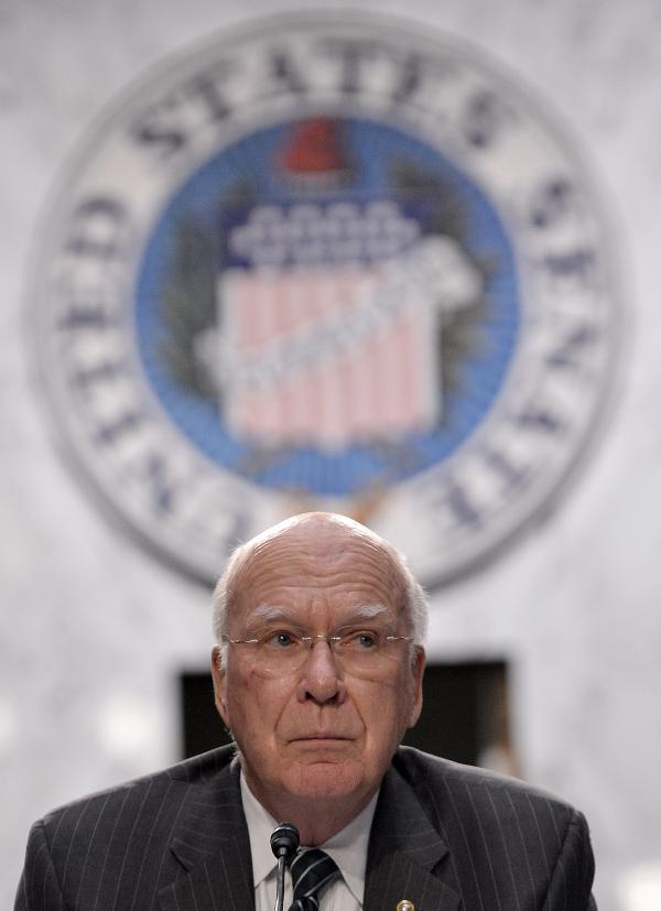 Senate Judiciary Committee Chairman Patrick Leahy holds a hearing on gun control on March 7. The committee has since passed two bills on guns that are headed to the full Senate.