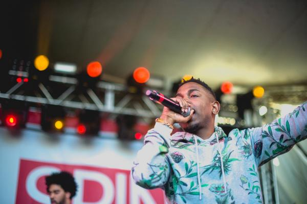 Rapper Kendrick Lamar is rather ubiquitous at SXSW this year, and here performs at Stubb's for the Spin Magazine Party.
