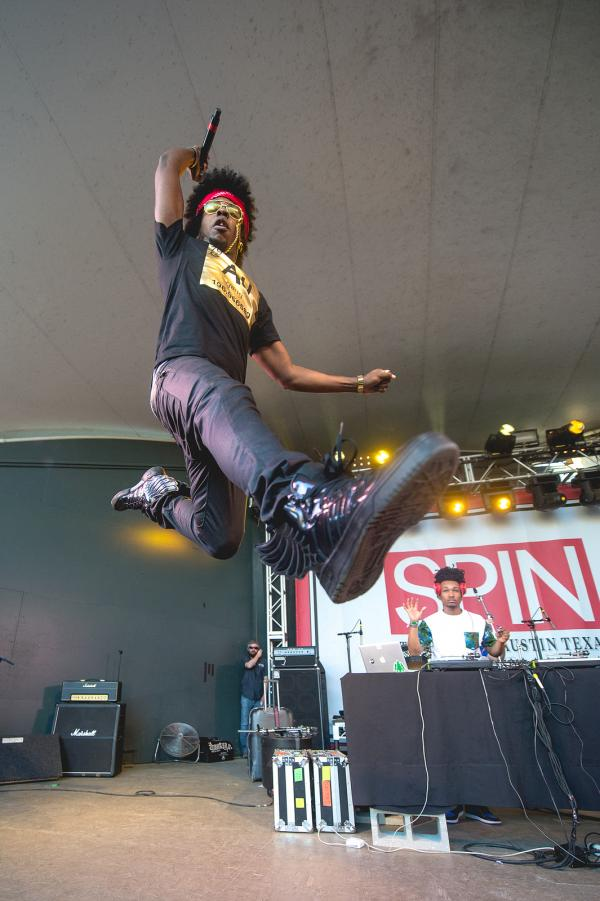 Atlanta's Trinidad James shows us his vertical leap at Stubb's.