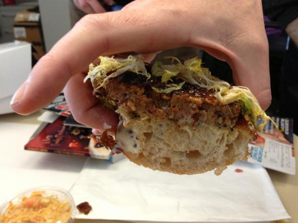 A mouth's eye view of the sandwich on approach.