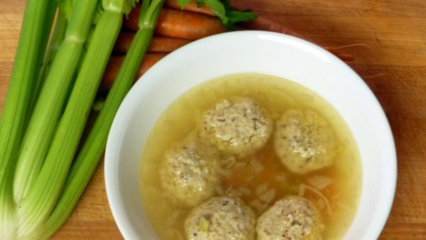 This version of Matzo Ball Soup is made with rendered chicken fat, or schmaltz.