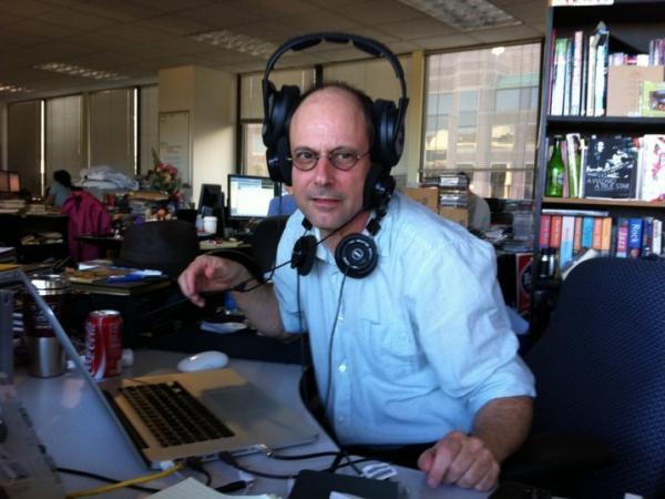 I snapped this picture of<em> All Songs Considered </em>host Bob Boilen when he was particularly flummoxed by his headphones.