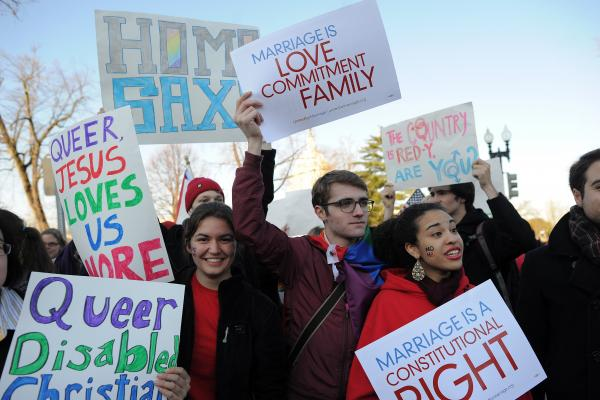 Supporters of same-sex marriage gather in front of the Supreme Court.