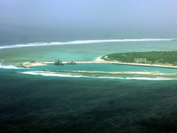 Aerial view of the city of Sansha on an island in the disputed Paracel chain, which China considers part of its territory.