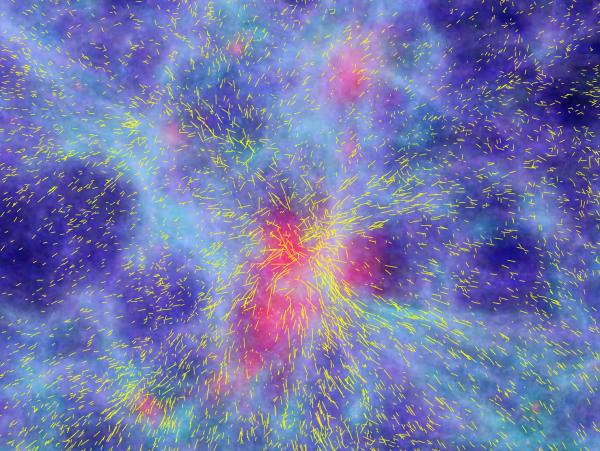 """<a href=""""http://www.eso.org/public/images/eso0804a/"""">A computer simulation</a> of the formation of large-scale structures in the Universe, showing a patch of 100 million light-years and the resulting coherent motions of galaxies flowing towards the highest mass concentration in the centre. The snapshot refers to an epoch about 10 billion years back in time."""