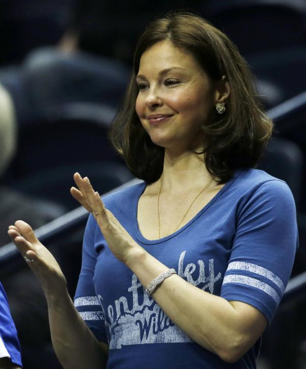 Ashley Judd watches Kentucky play Vanderbilt during the first half of an NCAA college basketball game at the Southeastern Conference tournament on March 15 in Nashville.