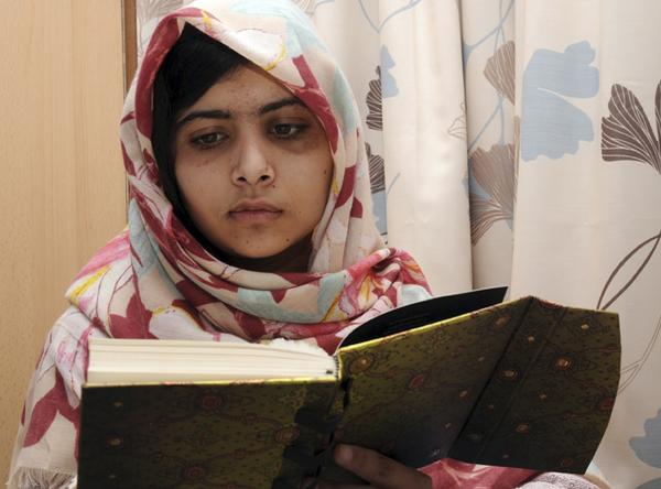 Pakistani teen Malala Yousafzai is pictured during her recovery at Queen Elizabeth Hospital in Birmingham, England, about a month after she was shot.