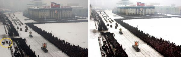 This image to the right, released by the North Korean Central News Agency (KCNA), was taken within seconds of the one to its left (released by Kyodo News). An analysis shows that the right-hand image was digitally altered, removing the cluster of men from the left edge and enhancing the perfect line of mourners.