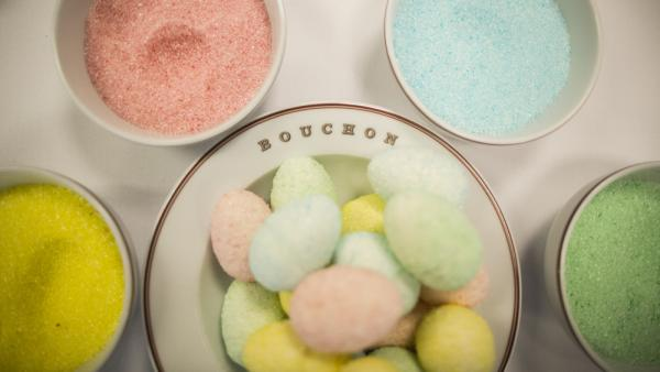 "Marshmallow eggs made with homemade flavored sugar are a colorful treat at Thomas Keller's Bouchon Bakery in Beverly Hills, Calif. To make them, pipe homemade marshmallow into hollow plastic eggs (see <a href=""#eggs"">recipe</a>, below)."