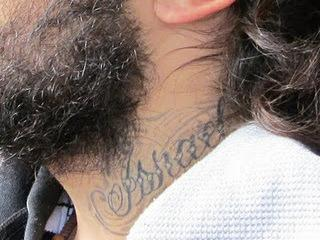 "The ""Israel"" tattoo on Ortega-Herndandez's neck."