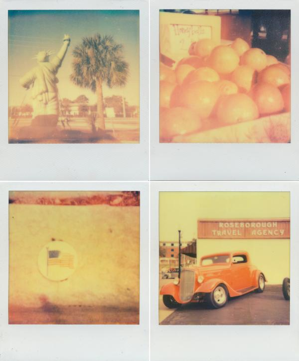 "Clockwise from top left: Statue of Liberty in Kissimmee, Honeybell oranges, an American flag in DeLand, and a classic car show. Shot with <a href=""http://the-impossible-project.com/"">Impossible Project</a> film."