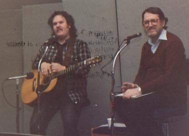 (l-r) Musician Scott Alarik with WUMB host Richard Reinert.