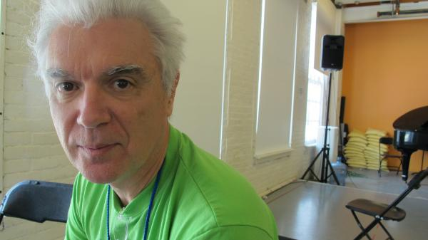 Musician David Byrne at his rehearsal space at MASS MoCA in North Adams, Mass. Byrne's first musical, <em>Here Lies Love</em>, chronicles the rise and fall of Imelda Marcos.