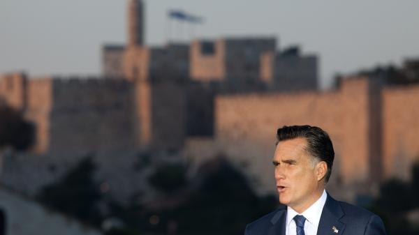 "Mitt Romney speaks in Jerusalem on Sunday, backing  ""any and all measures"" to keep Iran from developing nuclear weapons."