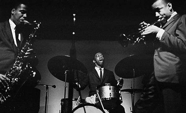 The band led by drummer Art Blakey (center) groomed more than 150 alumni members, including saxophonist Wayne Shorter and trumpeter Lee Morgan.