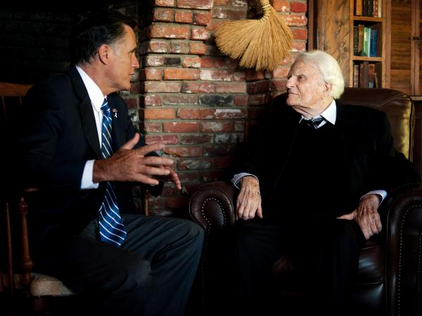 Oct. 11: Republican presidential nominee Mitt Romney visited the Rev. Billy Graham at the evangelist's home in Montreat, N.C.
