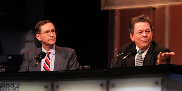 "Panelists Glenn Hubbard (left) and Arthur Laffer argue for the motion ""The Rich Are Taxed Enough."""
