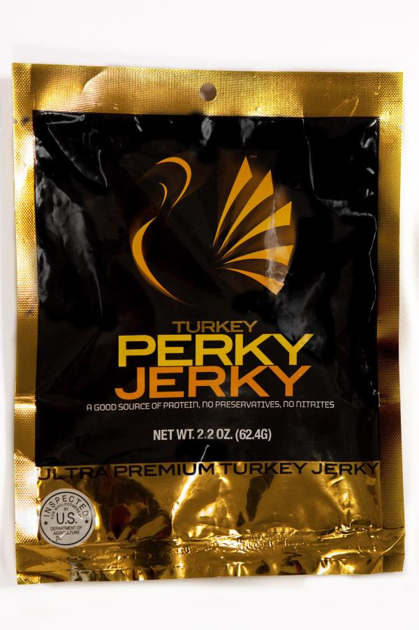 Beef jerky containing caffeine.