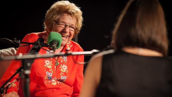 Dr. Ruth and Ask Me Another host Ophira Eisenberg crack each other up. Their conversation--covering sex and love in the 21st century, monogamy and a certain sexy novel--might crack you up, too.