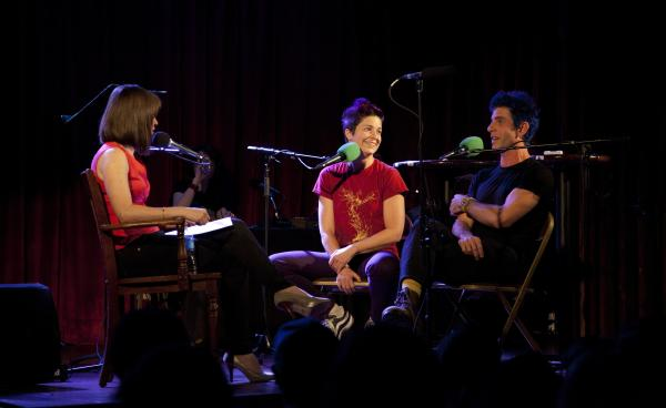 Host Ophira Eisenberg (left) interviews Christina Gelsone and Seth Bloom, a.k.a. Big Apple Circus' Acrobuffos, during a taping of Ask Me Another in Brooklyn, NY.