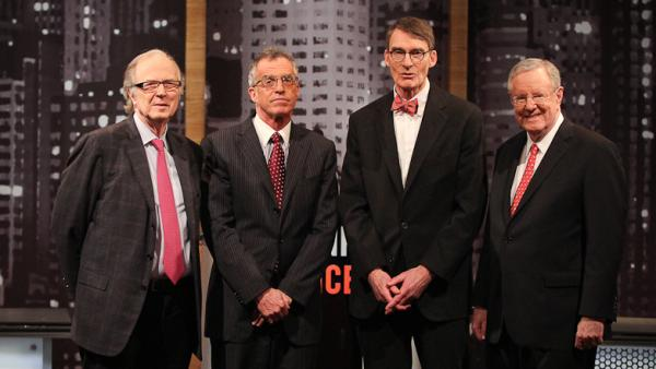 (From left) John Taylor, Frederic Mishkin, James Grant and Steve Forbes traded arguments during the latest <em>Intelligence Squared U.S.</em> debate.